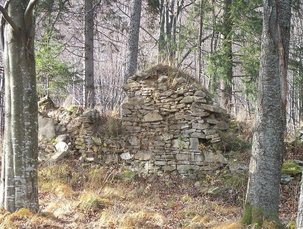Wieś Caryńskie ruiny cerkwi